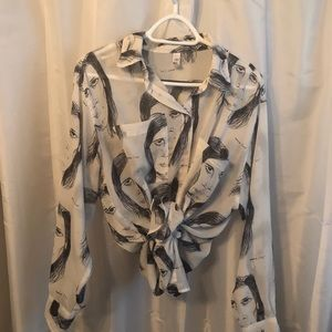 American Apparel Oversized Graphic Blouse OS